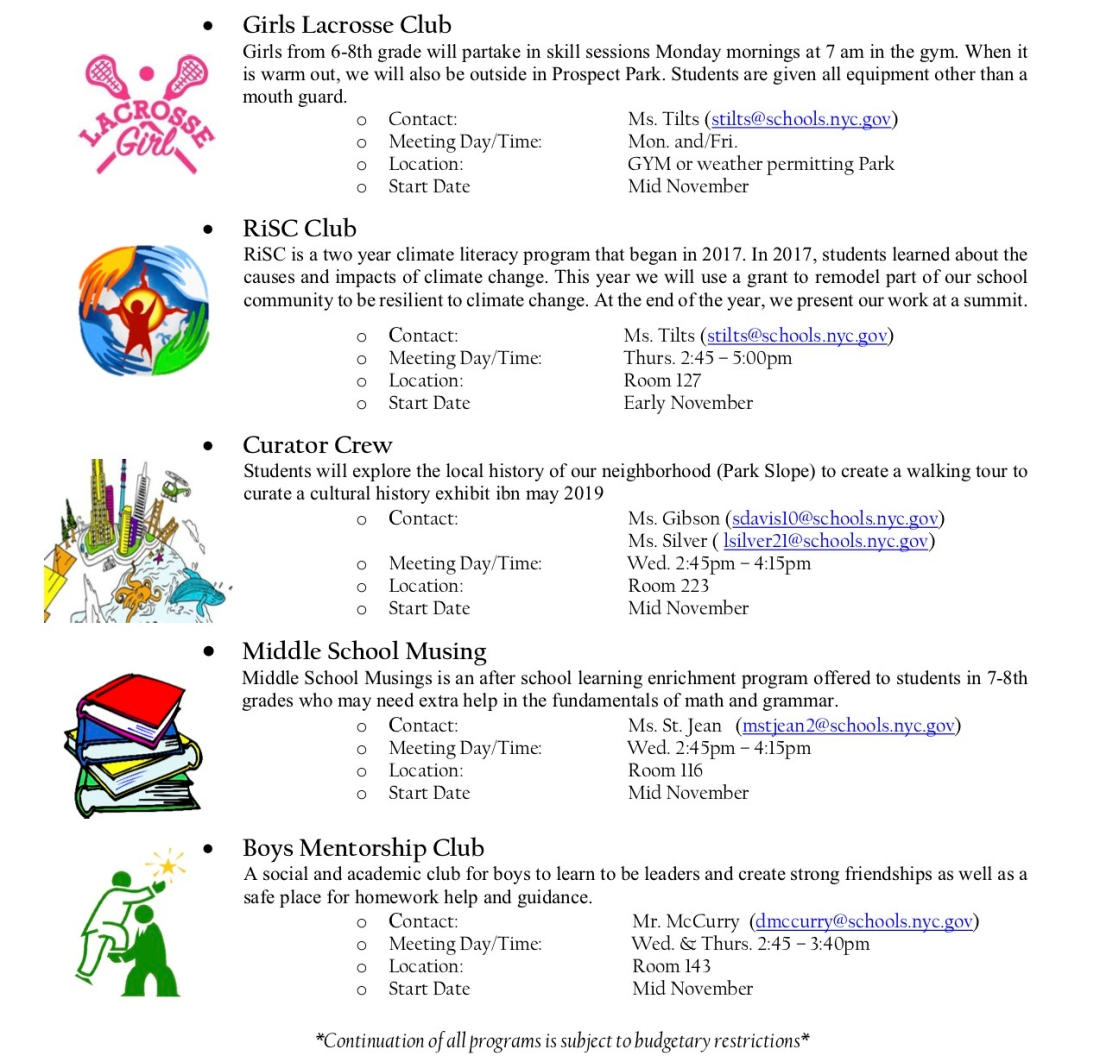 2018-2019 M.S. 88 After School Directory 7