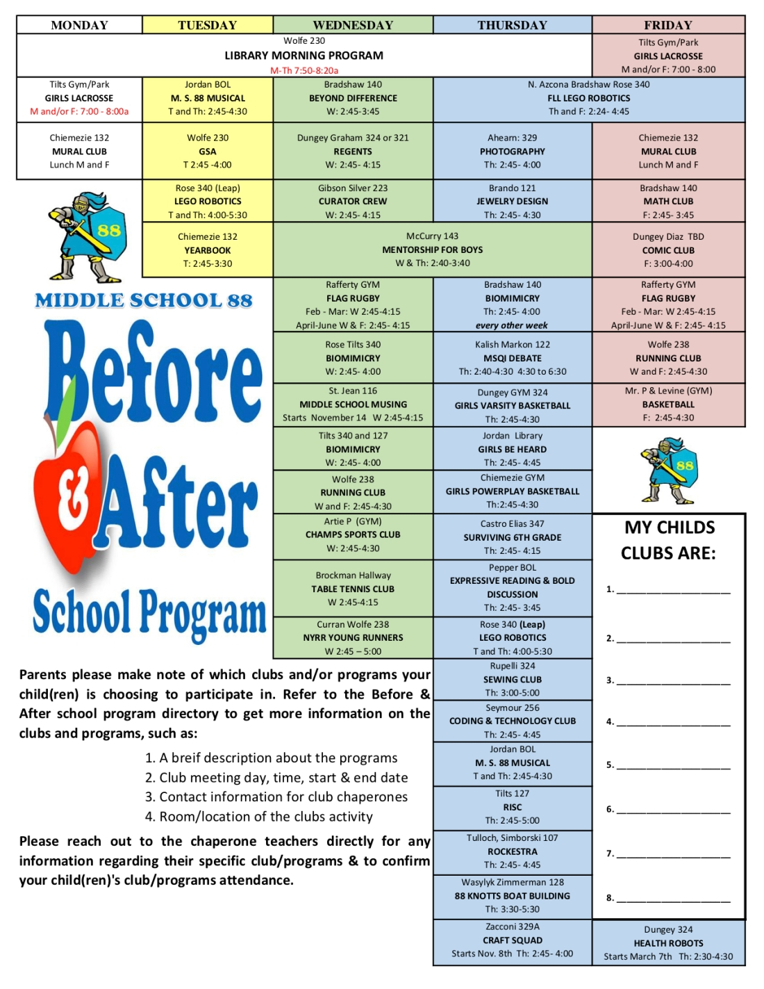 After School Schedule for Parents