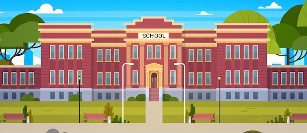 cartoon of a generic school building