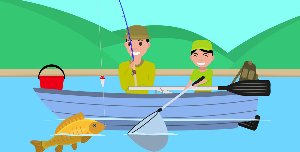 cartoon of people fishing on a boat