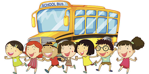 Illustration of students in front of a school bus