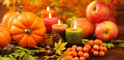 image of pumpkins, leaves and harvest food
