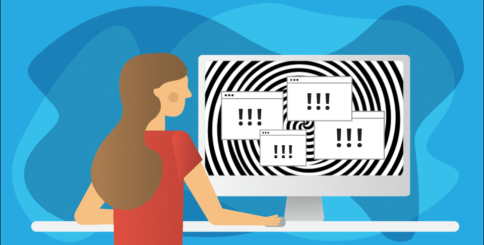 illustration of woman looking at computer with exclamation points