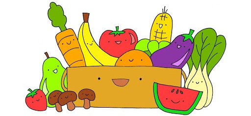 cartoon image of fruits & vegetables